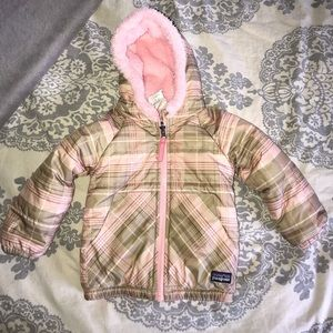 Infant girls Patagonia reversible winter coat- 12m